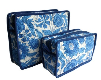 Unisex Indian Wood Block toiletry with piping and plastic lining