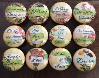1.5 inch inspirational words and phrases gold floral moss green