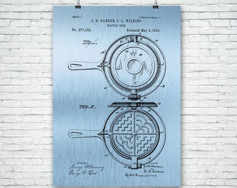 Waffle Iron Poster Patent Art Print Gift, Waffle Poster, Waffle Art, Waffle Patent, Waffle Iron Patent, Waffle Gift, Cooking Gift