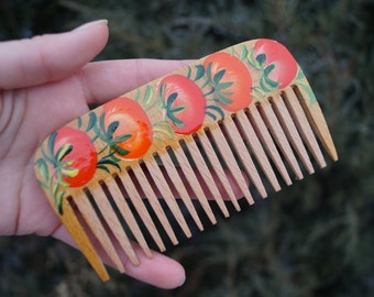 Wooden comb Comb Handmade Hand-painted comb Natural comb  Wooden hairbrush Gift for girlfriend Gift for her