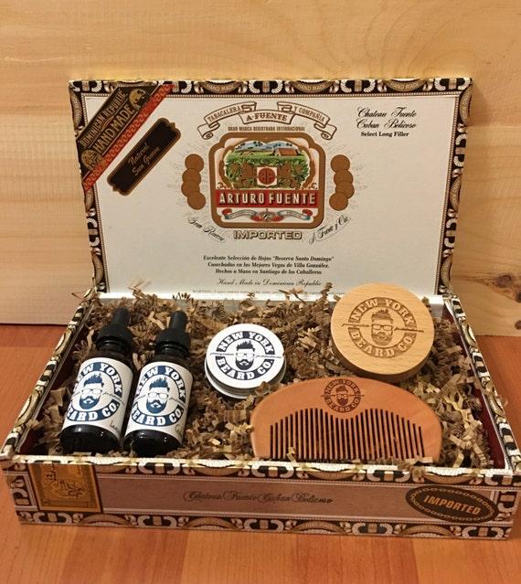 cigar box beard oil grooming gift set. Black Bedroom Furniture Sets. Home Design Ideas