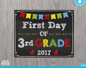 First Day of Third Grade Sign Instant Download Print Yourself, First Day of 3rd Grade Chalkboard Sign, Printable Back to School Sign