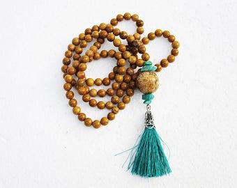 Necklace, Japsis, Brown, Gems, Turquoise, Mala, Healing, Energy, Yoga, Buddhism, Gypsi Style,