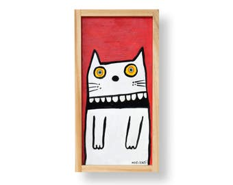 White Graphic Cat on Red