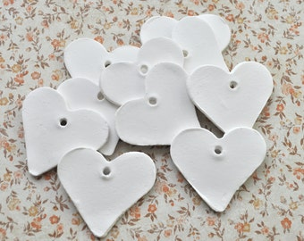 Heart-shaped gift tags, handmade clay hearts, wedding decoration, wedding favor heart, mothersday gift tag, white heart tag, set of 4 or 10