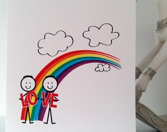 LGBT Gay Love Rainbow Card, valentine, boyfriend, husband, gay man, samesex, mr&mr, birthday, anniversary, love, lgbt, handmade, ireland