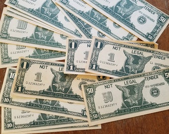 Vintage play paper money, 100 piece lot