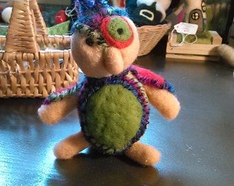 Funky colorful needle felted bird. CLEARANCE!