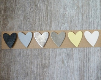 lot of 6 hearts of 2 cm (0.78 Inc.) fine leather smooth