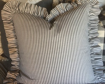 "Euro 26"" black and white ticking pillow cover"