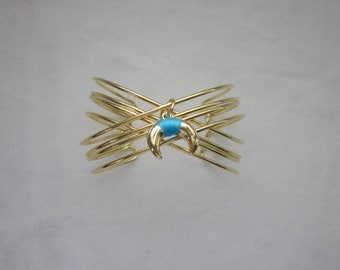 Turquoise Double Horn Cuff, Wire Cuff, Gold Cuff, Gold Bracelet, Gold Double Horn, Turquoise Double Horn, Wire Bracelet