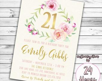 21st Birthday Invitation, Pink and Gold Birthday Invitation, 16th, 21st, 30th Birthday Invitation, Floral Birthday Invitation, Twenty one