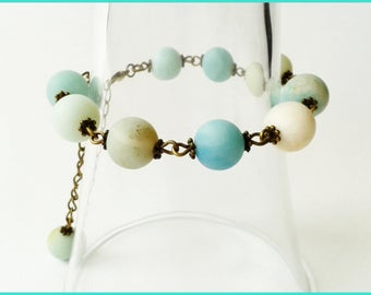 Bracelet beads amazonite real bronze metal