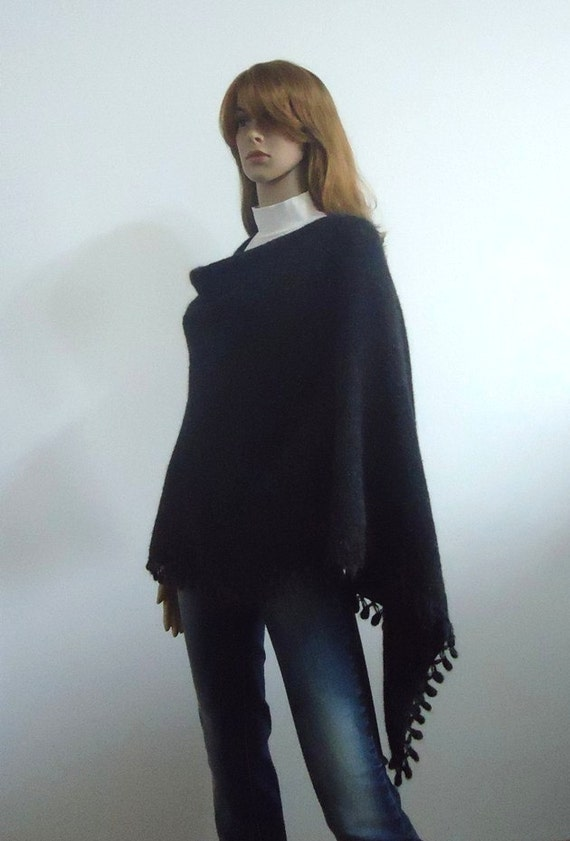 Poncho Black shawl wrap Black Wool knit Handmade sweater  Gift for Her Hand knitted poncho Mohair yarn