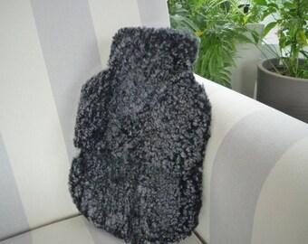 Handmade Somerset Sheepskin Hot Water Bottle Cover Granite Grey