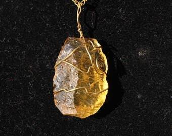 Citrine Necklace on golden chain