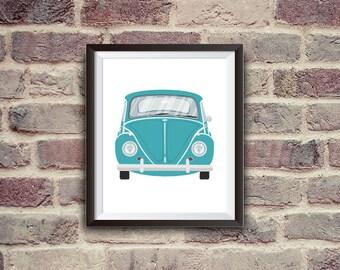beetle, instant download, car art, wall decor, light blue, printable art