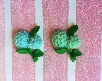 Blue/Green Flower Ball W/ Leaves Flat back Cabochon Kawaii Cabochon Deco Pieces-Mixed 4 Pcs