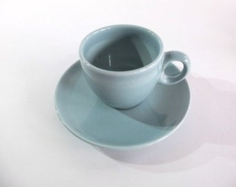Russel Wright Iroquois SUPER RARE AD After Dinner Demitasse Coffee Cups and Saucers in Ice Blue! 2 available