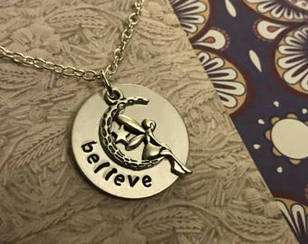 Believe hand stamped necklace with fairy charm