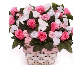 Baby Bouquet Luxury Gift Basket Baby Girl, baby bouquet gift basket, basket of baby clothing, maternity leave gift
