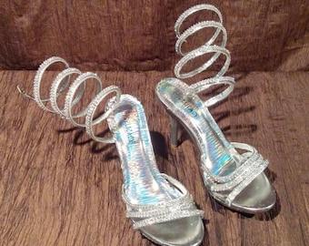 Delicacy high heels, crystal embellished, size 8