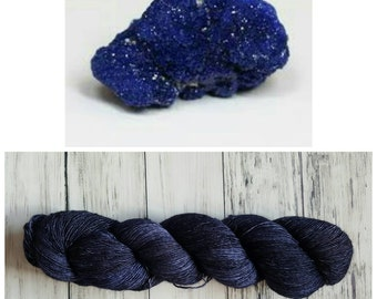 Hand Dyed Yarn, Ultra Soft Single Ply Merino Fingering Weight Tonal Yarn Perfect for Shawls and Other Special Accessories - Azurite