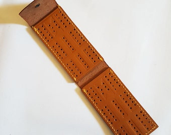 J.S. NYC Leather Folding Travel Cribbage Board