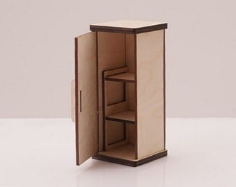 Dollhouse Refrigerator- Doll House Kitchen Fridge - Miniature Kitchen Refrigerator - Doll House Furniture