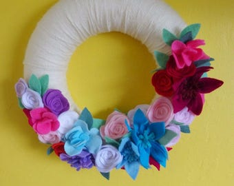 Flower wreath, mothers day gift, spring wreath, felt flower wreath, wedding gift, felt roses, new home gift, lounge decor, felt flowers,