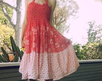 1970s Red Floral Halter Sundress Size Medium