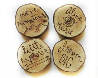 custom wood magnets, rustic home decor, kitchen decor, fridge magnets