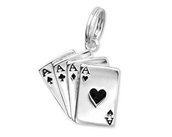 Silver Playing Cards Charm Dangle, fits Pandora Bracelets or Any Necklace or Charm Bracelet