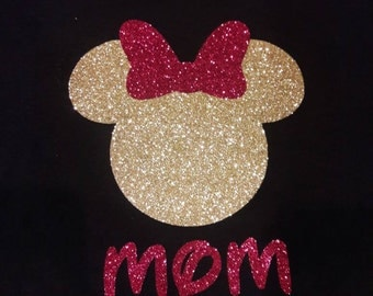 Custom family Disney Minnie mouse and Minnie Elsa glitter birthday or vacation shirts