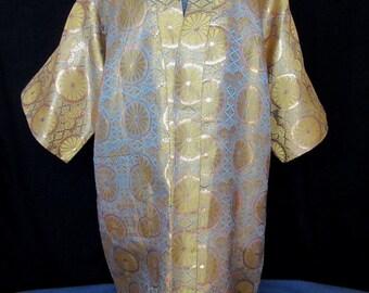 Metallic Silk Brocade Japanese Robe, Japanese Silk Robe with kamon Motif, Gold and Blue Chrysanthemum Motif Japanese Robe, ca 1921-47