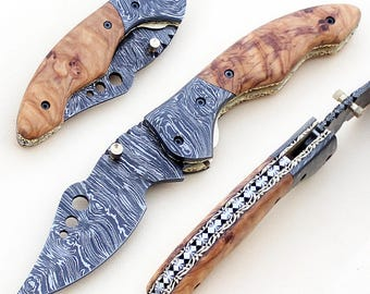 Handcrafted Damascus Folding Pocket Knife Olive Wood Handle 175 Layers w/ Liner Lock - Sharp Blade - Made to Order