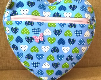blue heart backpack, holiday bag, nursery bag, school bag, day bag with matching purse available