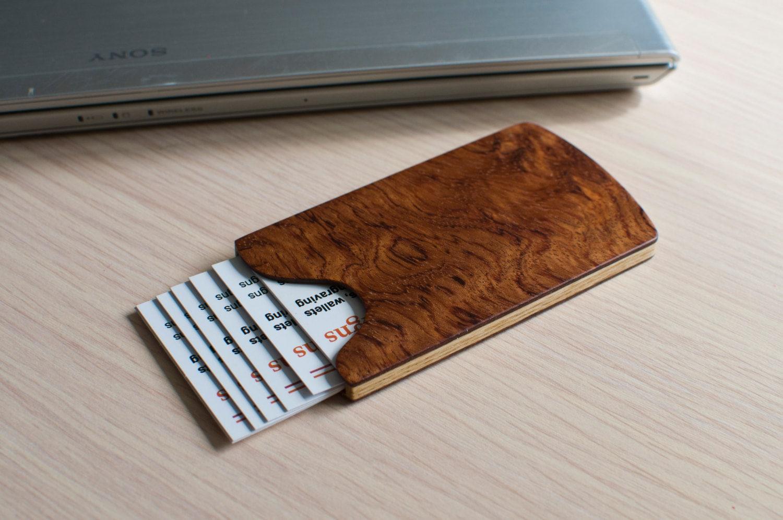 Handmade wooden business card holder bubinga pommele for Wooden business card holders