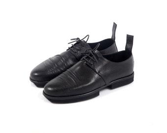 SUMMER SALE Black leather women platform derbies, black women oxfords, platform oxfords, comfortable women shoes, black leather shoes, wide