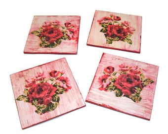 Beautifull Flower coasters, Decor Wood Photo Coasters Flower Coasters Beverage Coasters for Flower  Coasters Set of 4 Design
