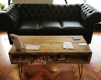 Handmade TV Stand / Coffee Table Made from Reclaimed Scaffolding Boards and Metal Hairpin Legs