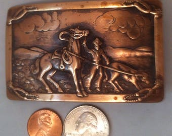 Vintage Brass Cowboy Belt Buckle, Horse Roping, Calf, Cow, Farm, Country Living, Cow Horse, Roping, Rodeo, Country and Western Wear, Buckle