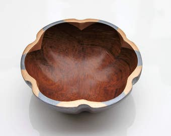 Boho rose gold and dark silver wooden monkey pod bowl