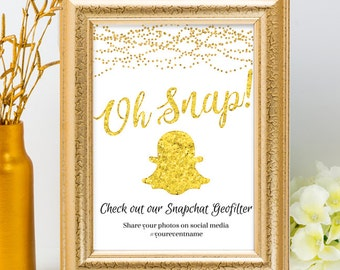 Printable Gold Foil Look Social Media Geofilter String Lights Wedding Event Hashtag Sign, 2 Sizes, Editable PDF, Instant Download