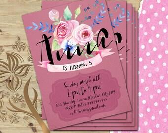 Custom Girl Invitation, Custom Invitation, Girl Invitation, Birthday Party Invite, Printable Girl Party Card, Any Name, Any Age
