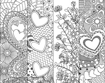 8 Printable Coloring Bookmarks with Hearts;  Coloring Bookmarks for Valentines; Digital download