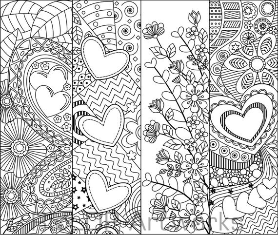 8 Printable Coloring Bookmarks with Hearts Coloring
