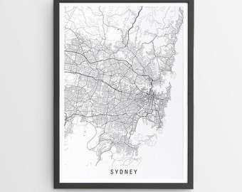 Sydney Map Print - Minimalist Map / New South Wales / Australia / City Print / Australian Maps / Giclee Print / Poster / Framed