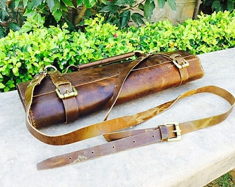 Genuine Leather Shining Vintage Brown Knife Roll, Chef Knife Bag, Chefs Roll, Chef Bag, Knife Roll Bag, Personalized Knife Roll, Tool Roll