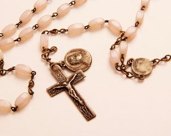 early 1900's antique Light pink Rosary